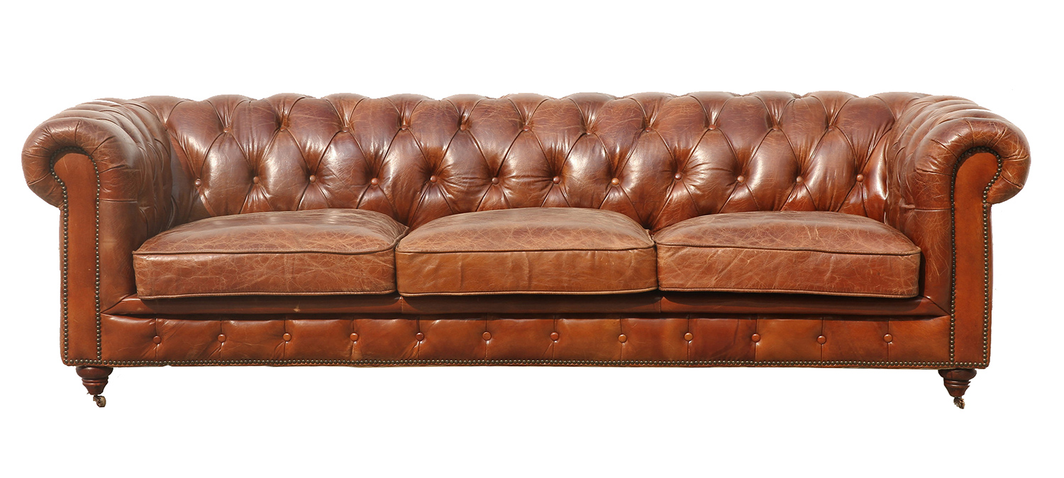 Manchester Leather Tufted Sofa 3009